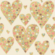 Cartoon hearts and circles seamless pattern. Valentines day card — Stock Photo #39607737
