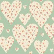 Cartoon hearts and circles seamless pattern. Valentines day card — Stock Photo #39609857