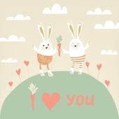 Romantic card with cute rabbits in love. Happy hares with carro — Stock Photo
