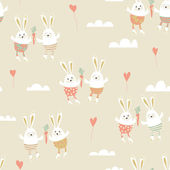 Romantic seamless pattern with cute rabbits in love. Happy hare — Stock Photo