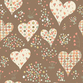 Cartoon hearts and circles seamless pattern. Valentines day card — ストック写真