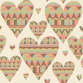 Cartoon hearts seamless pattern. Tribal style. Valentines day ca — Stock Photo