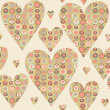 Cartoon hearts and circles seamless pattern. Valentines day card — Stock Photo