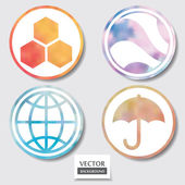 Set of four icons. Web and mobile apps circle watercolor button. — Stock Photo