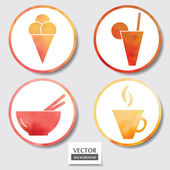 Set of four icons. Web and mobile apps circle watercolor button. — Stockfoto