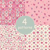 Cartoon hearts and circles seamless pattern. — Stock Photo