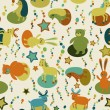 Seamless pattern with cartoon forest animals — Stock Photo #51692947