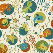 Sea creatures seamless pattern — 图库照片