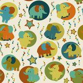 Modello senza soluzione di continuità con gli elefanti divertente cartone animato — Foto Stock