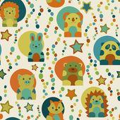 Seamless pattern with cartoon  animals — Stock Photo
