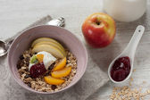 Breakfast with oatmeal, fruits and milk — Stock Photo