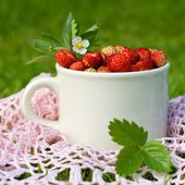 Red wild strawberries in a cup — Stock Photo