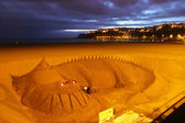 Dragon de sable à getxo beach — Photo