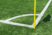 Lines of football corner with flag — Stock Photo