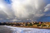 Getxo beach with stormy sky — Stock Photo