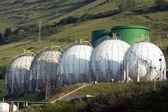 Round tanks of gas — Stock Photo