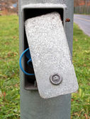 Cover open due to maintenance on electrical lamp post — Stock Photo