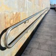 Stock Photo: Metal railings on slope of pedestriwalkway