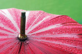 Closeup of umbrella with rain drops — 图库照片