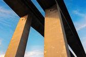 Concrete pillars on bridge — Stock Photo