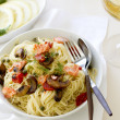 Capellini Pastwith Salmon and Vegetables — Stock Photo #23761647
