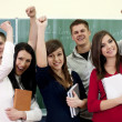 Successful smiling students - Stockfoto