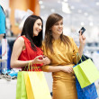 Two girlfriends with shopping bags — Stock Photo #21825509