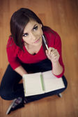 Student with notebook — Stock Photo