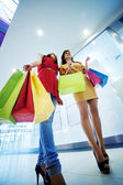 Two girlfriends with shopping bags — Stock Photo