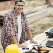 Portrait of young carpenter — Stock Photo