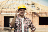 Construction worker showing ok sign — Stock Photo