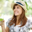 Woman drinking mojito — Stock Photo #21901495