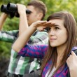 Searching young couple — Stock Photo