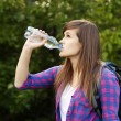 Beautiful female hiker drinking water — Stok fotoğraf