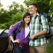 Couple near tent — Stock Photo