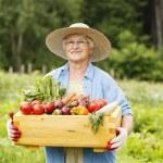 Senior woman with vegetables — Stock Photo
