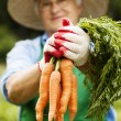 Senior woman with carrot — Stock Photo