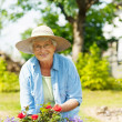 Woman with flowers in garden — Stock Photo
