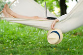 Relaxing on hammock — Stock Photo