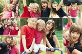 Niños felices en patio — Foto de Stock