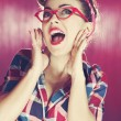 Pin-up girl excited shouts — Stock Photo