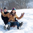 Young couple  in the snow — Stock Photo