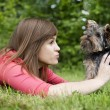 Playing with cute puppy — Stock Photo #21913957