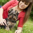 Yorkshire terrier puppy with young woman — Stock Photo