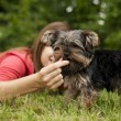 Woman feeding puppy — Stock Photo