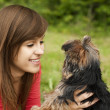 Playing with cute puppy — Stock Photo