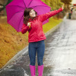 Young woman under pink umbrella — Stok fotoğraf