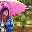 Young woman under pink umbrella — ストック写真