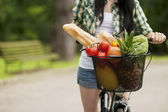 Basket filled fruits and vegetables — Stock Photo