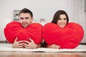 Couple with big heart — Stock Photo